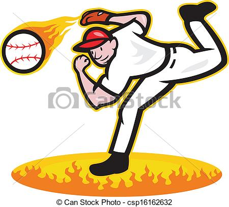 450x408 Baseball Pitcher Throwing Ball On Fire Illustration Of A American