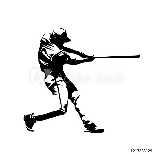 500x500 Baseball Player, Hitter Swinging With Bat, Abstract Isolated