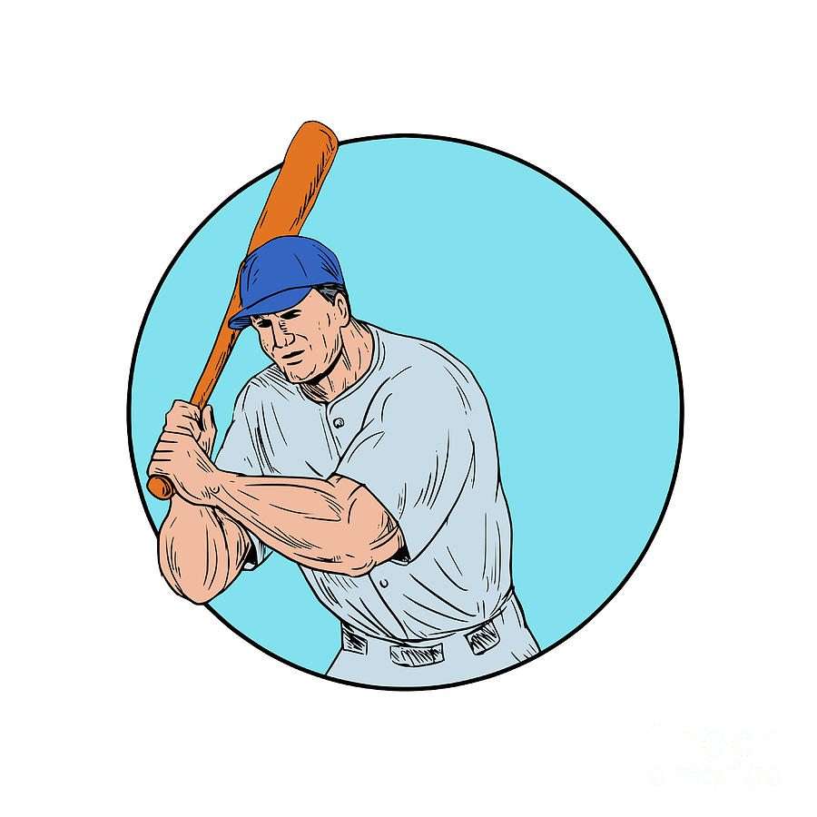 900x900 Baseball Player Holding Bat Drawing Digital Art