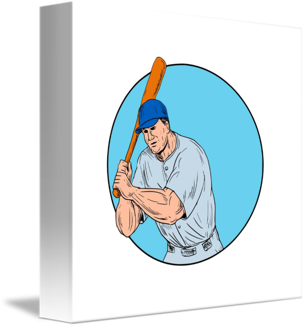 606x650 Baseball Player Holding Bat Drawing