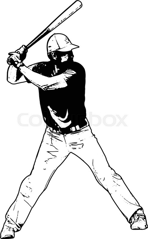 495x800 Baseball Player, Sketch Illustration