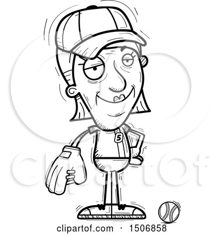 450x470 Clipart Of A Confident Senior Female Baseball Player