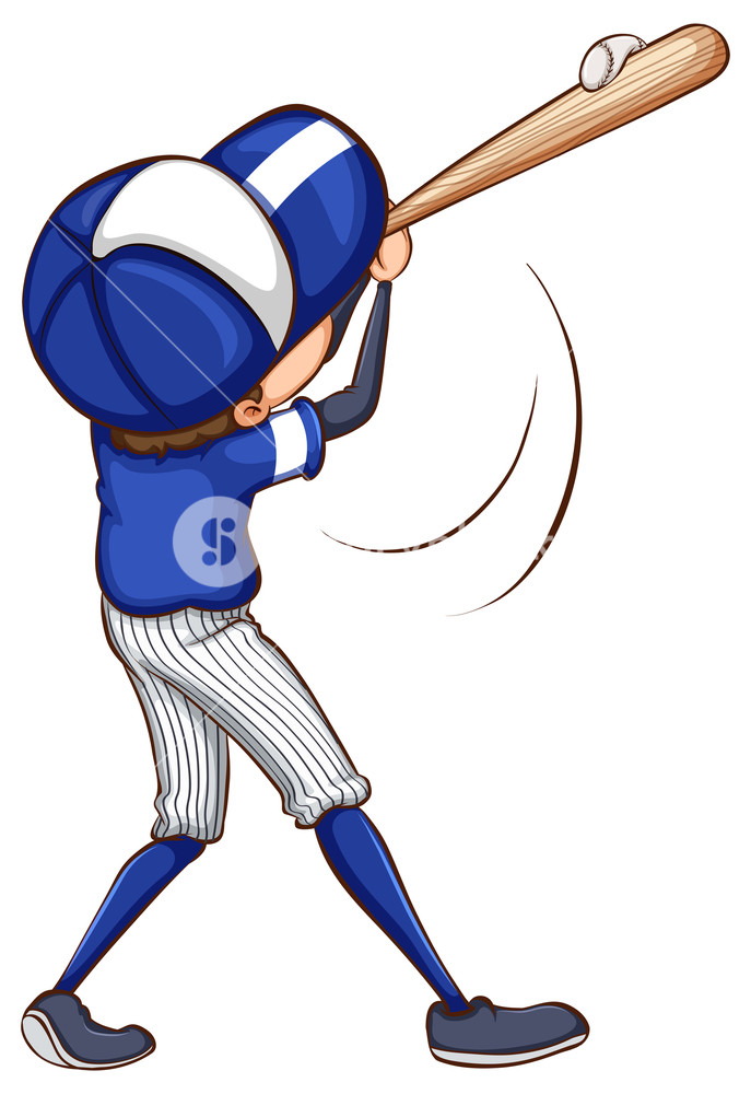 687x1000 Illustration Of A Simple Drawing Of A Baseball Player On A White