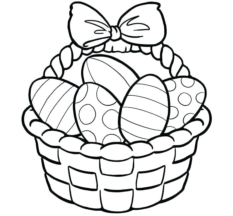 773x716 Easter Egg Drawings Eggs To Coloring Pages Egg Basket Colouring