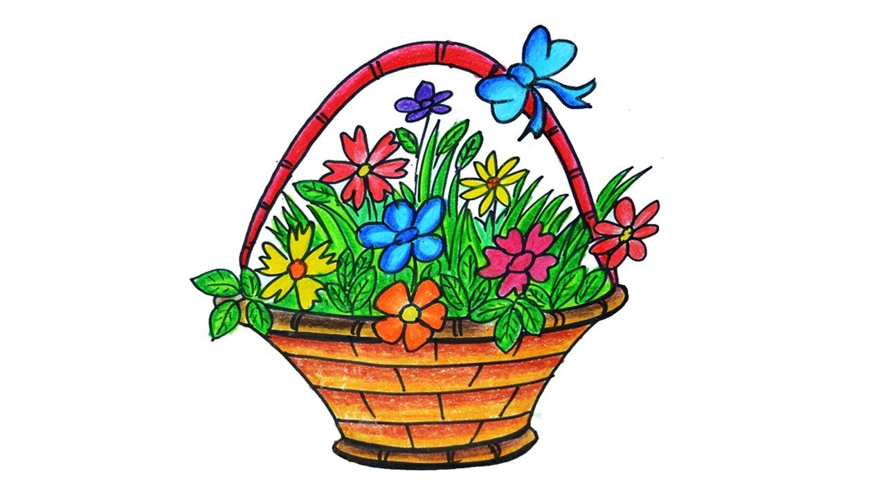 1280x720 Flower Basket Drawing, How To Draw Flower Basket Step
