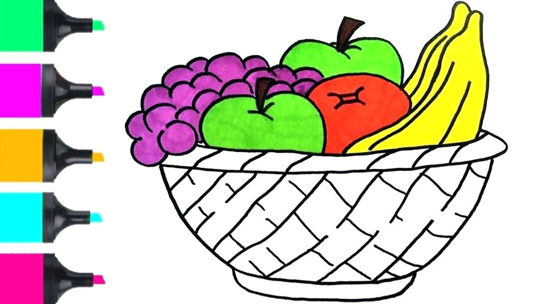 1084x610 A Basket Of Fruits Drawing