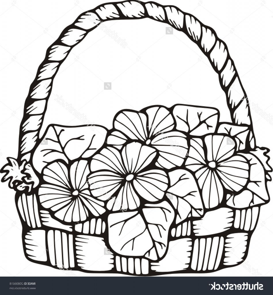 949x1024 Drawing Of Basket Basket Of Flower Drawings Easy Draw A Flower