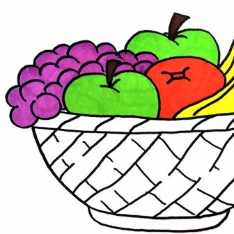 336x336 Fruit Basket Drawing For Class Of Flowers Outline Colour