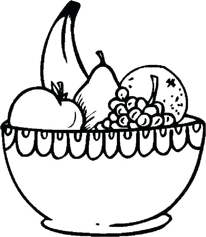 675x774 Fruit Bowl Drawing Fruit Salad Bowl Drawing