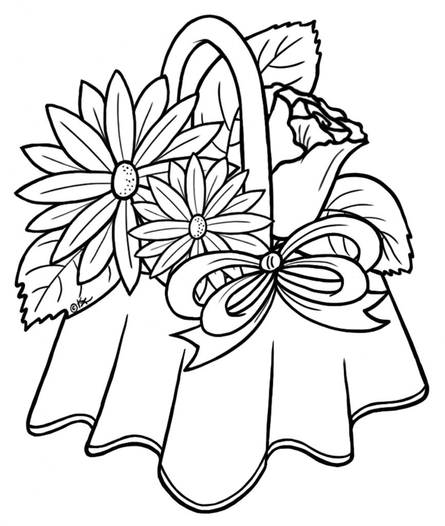 Basket Of Flowers Drawing