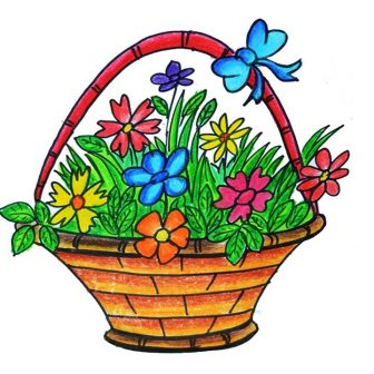 336x336 Drawing Flower Basket With Colour Basketball Player Gabion Case