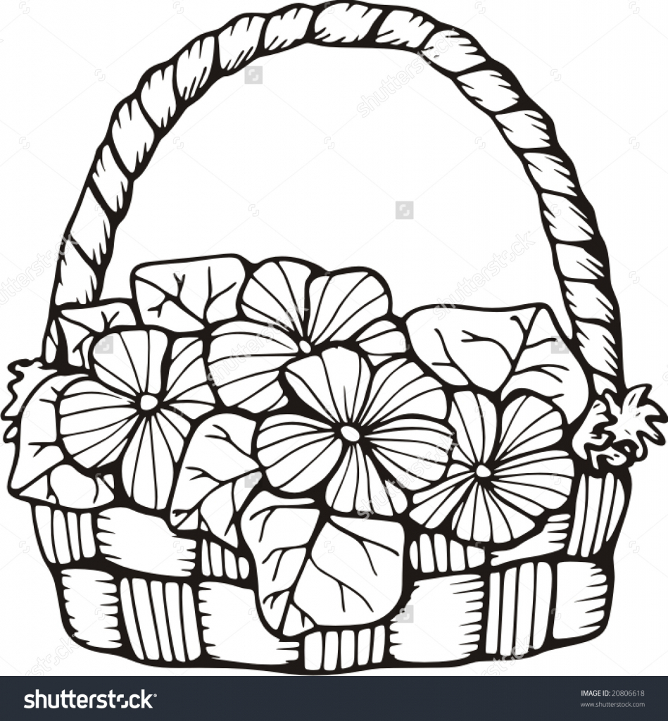 949x1024 Drawing Of Basket Of Flowers Clip Art
