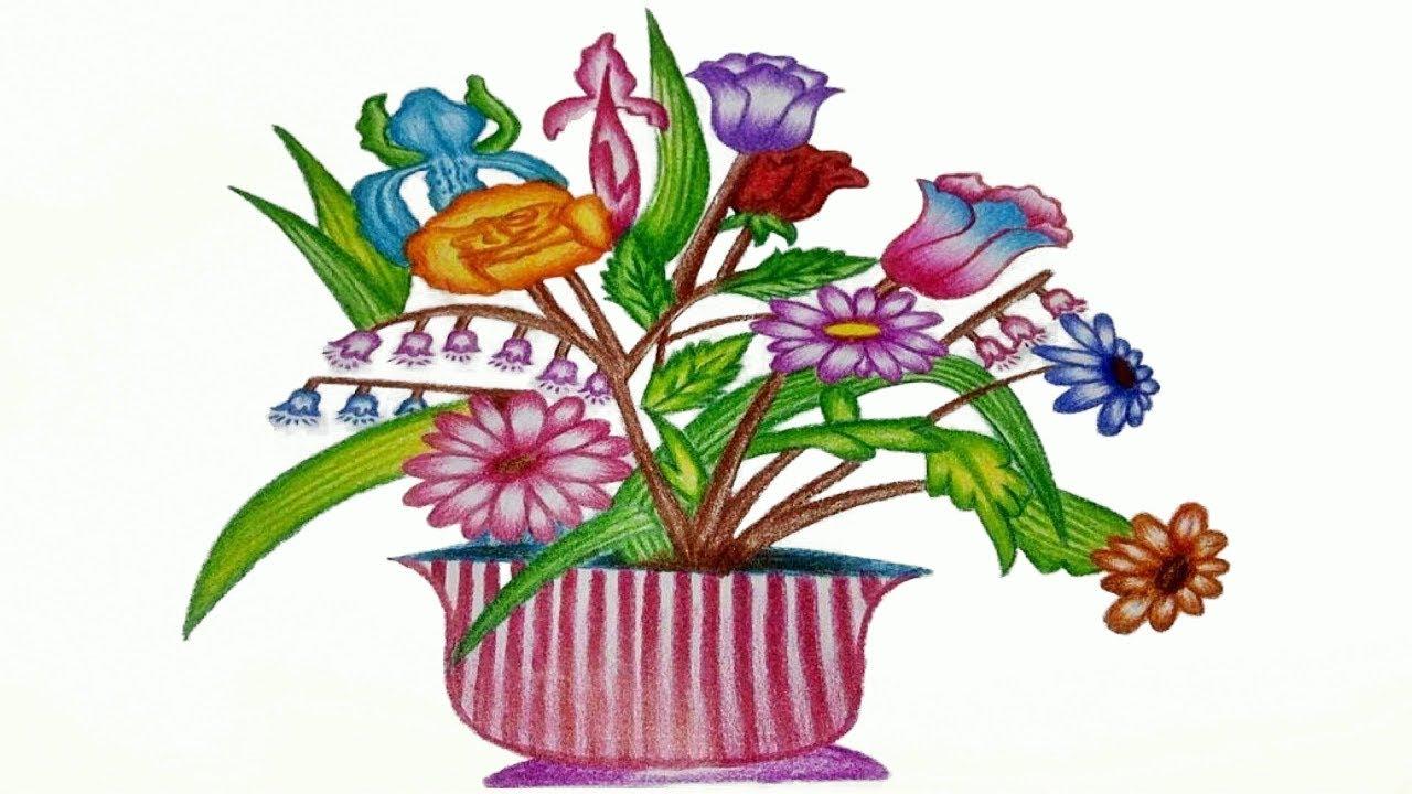 1280x720 Flower Basket Drawing