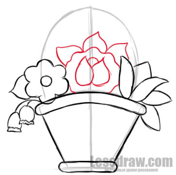 363x360 How To Draw A Basket Of Flowers On March