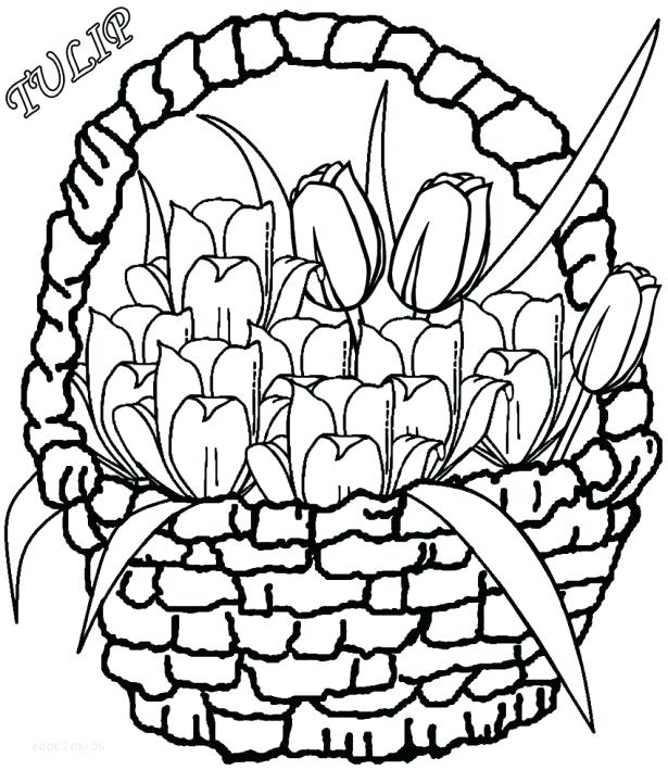 615x709 Basket With Flower Coloring Pages Drawing