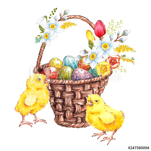 500x500 Multi Colored Easter Eggs In A Basket With Flowers And Cute Chicks