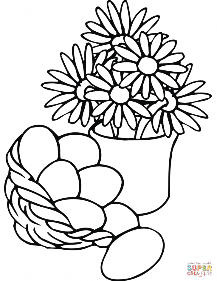 728x941 Coloring Pages Basket Of Flowers Printable Coloring