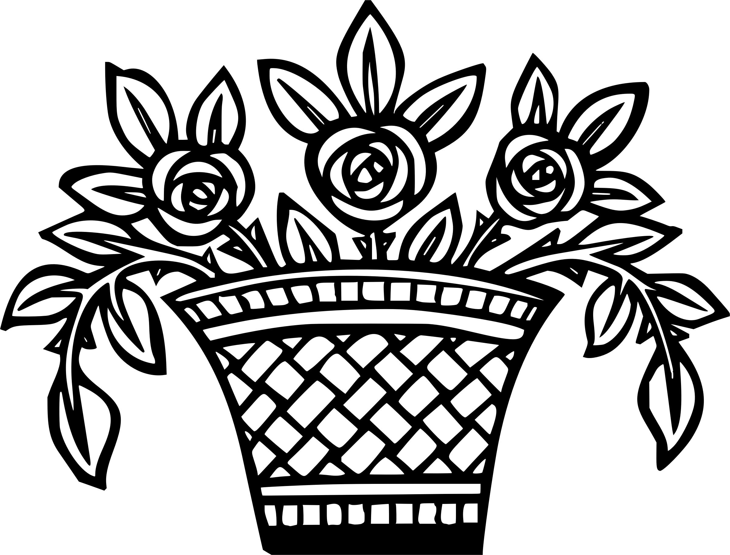2400x1826 Basket Of Flowers Icons Png