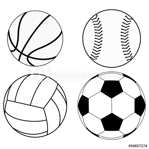 500x500 balls set basketball ball, baseball ball, volleyball, soccer ball