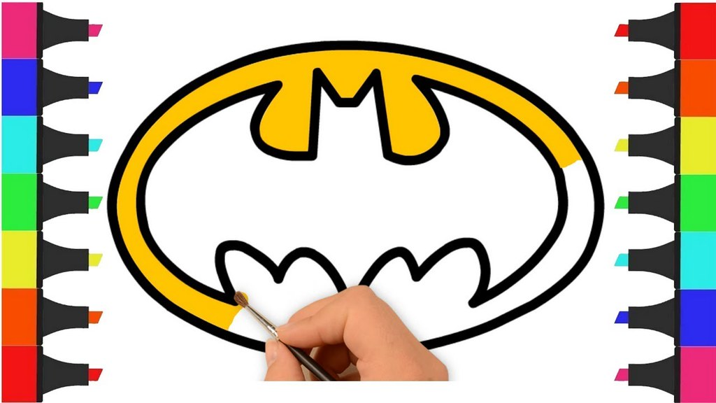 1024x576 Batman Logo Coloring Pages For Kids How To Draw Batman