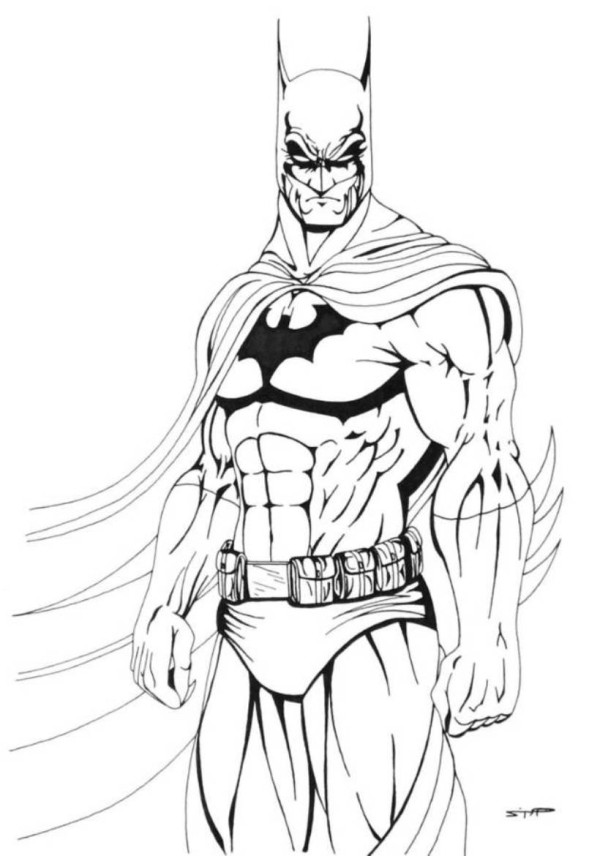 600x856 Batman Drawing Action For Free Download