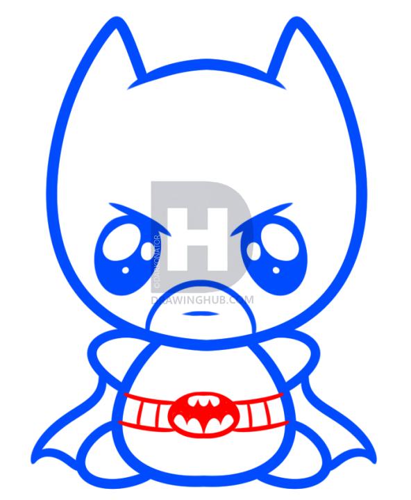 592x720 How To Draw Kawaii Batman, Step