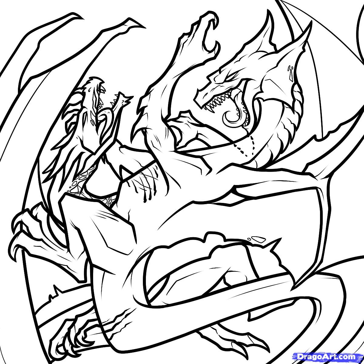 1200x1200 step how to draw dragons fighting, dragons fighting