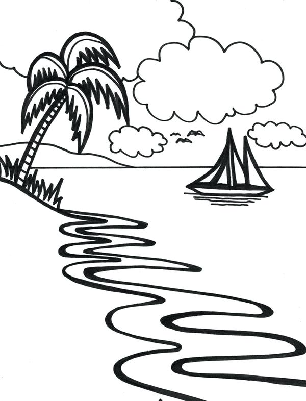 600x786 graphic coloring pages beautiful beach line drawing in art graphic