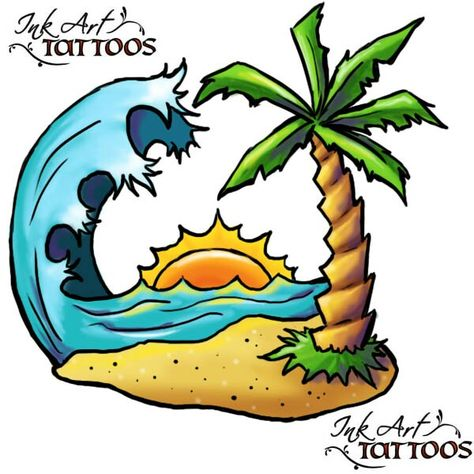 474x474 beach tattoo tattoo ideas island tattoo, tropical tattoo, palm