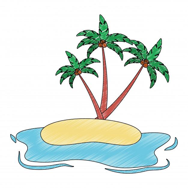 626x626 Beach Landscape Isolated Icon Vector Illustration Design Vector