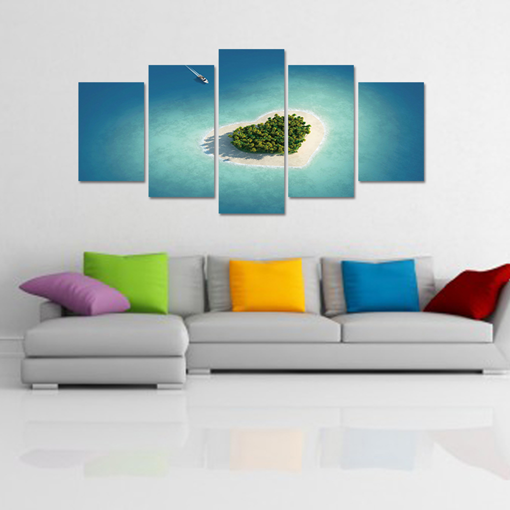 1020x1020 Beach Heart Island Canvas Oil Painting Modular Frame Hd