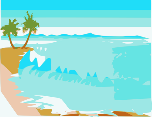 500x385 Vector Drawing Beach Landscape