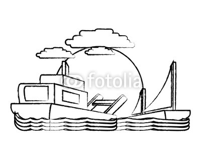 400x320 Sketch Of Abstract Beach Landscape With Boat Icon Over Background