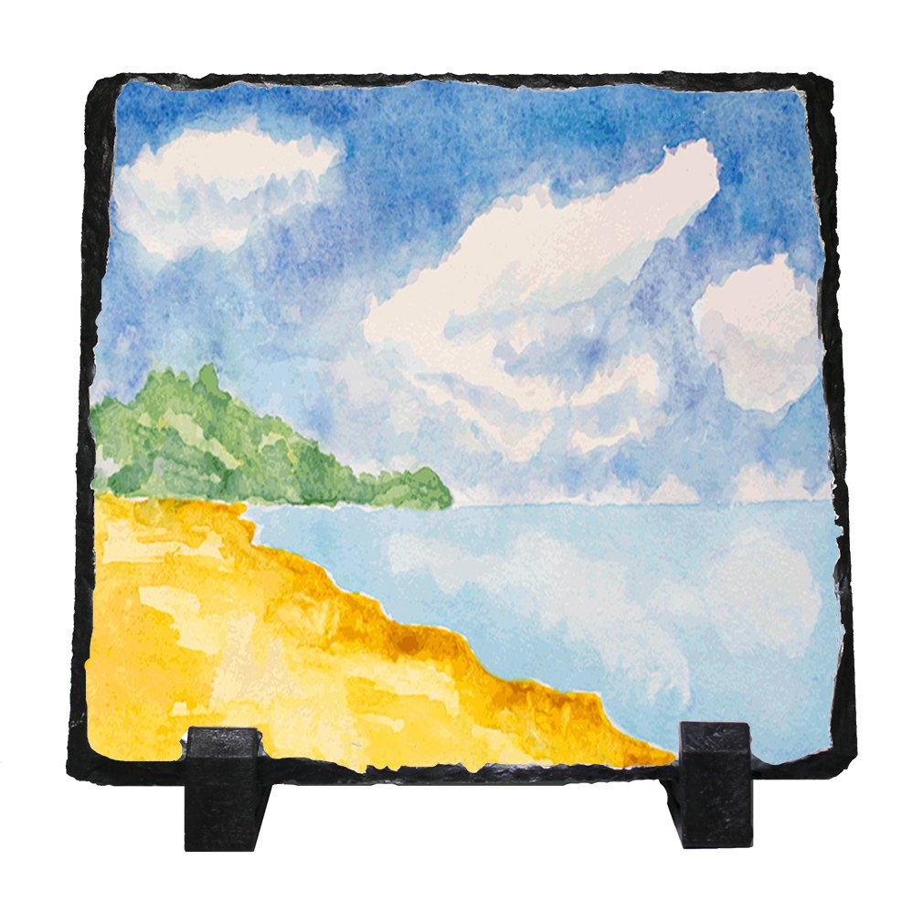 1010x1010 Watercolor Beach Stone Slate Plaque Picture Home