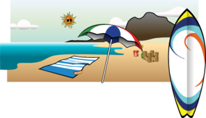 297x171 beach umbrella, ocean, surfboard, beach scene clip art clip art