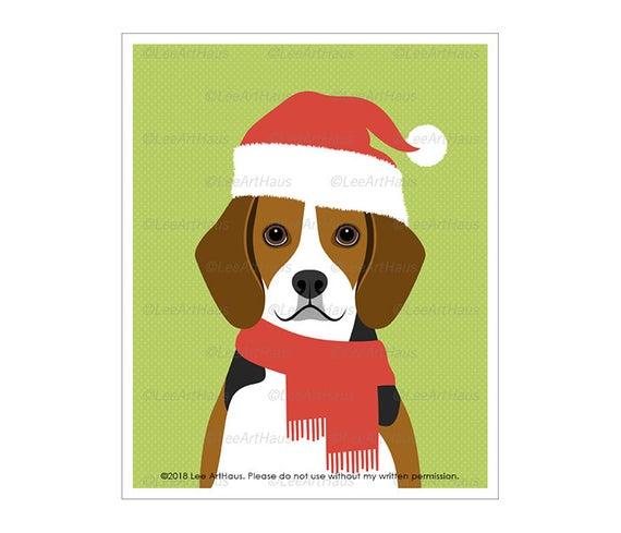 570x489 pet drawing beagle wearing santa hat wall art beagle etsy