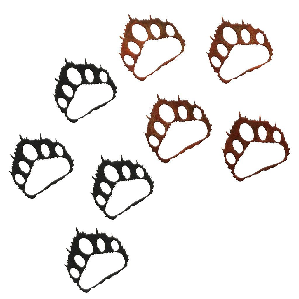 1024x1024 Bear Paw Prints Rustic Southwestern Metal Wall Art Canvas Frenzy
