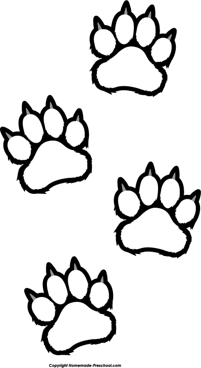 407x746 Bear Paw Prints Clip Art Clipartfest