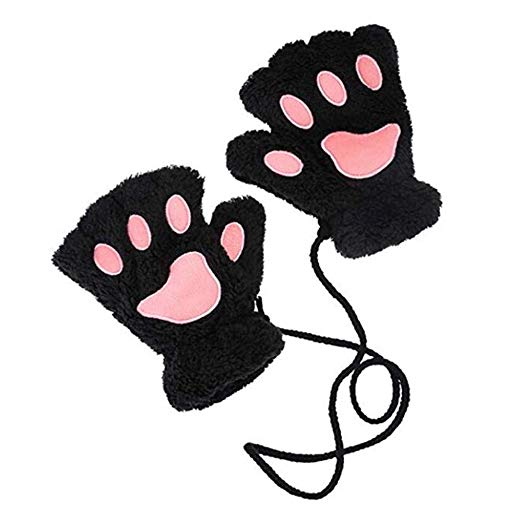 522x522 Cute Cat Bear Paw Fingerless Faux Fur Plush Gloves For Women