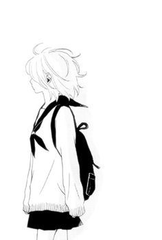 236x351 girl walking anime in anime monochrome, anime, anime art