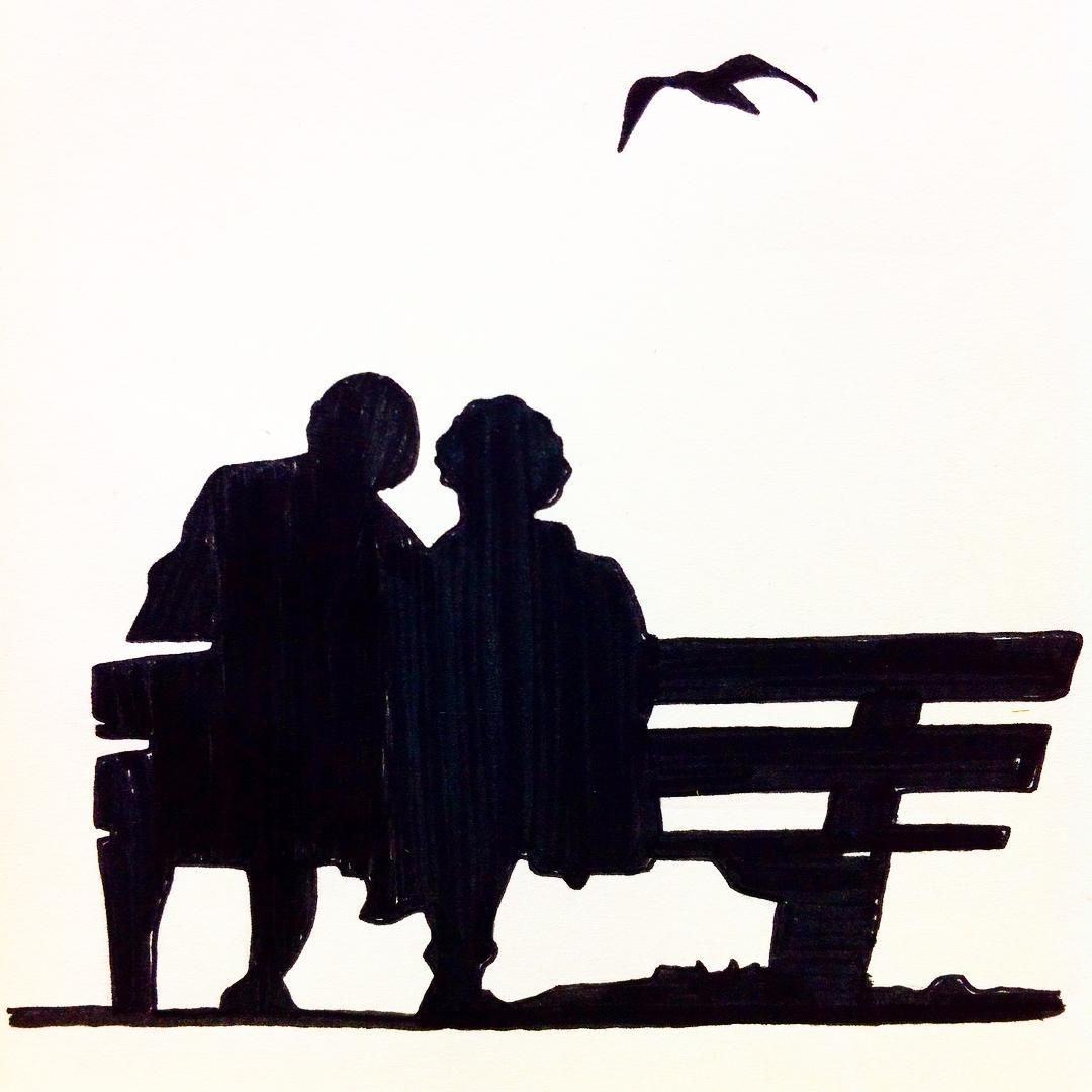 1080x1080 Love, Two Elderly People Sitting On A Bench In The Park, Drawing
