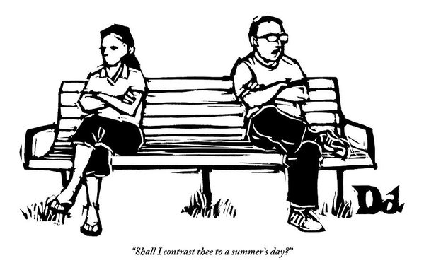 599x389 Man And Woman Sit On Bench Opposite One Another Art Print