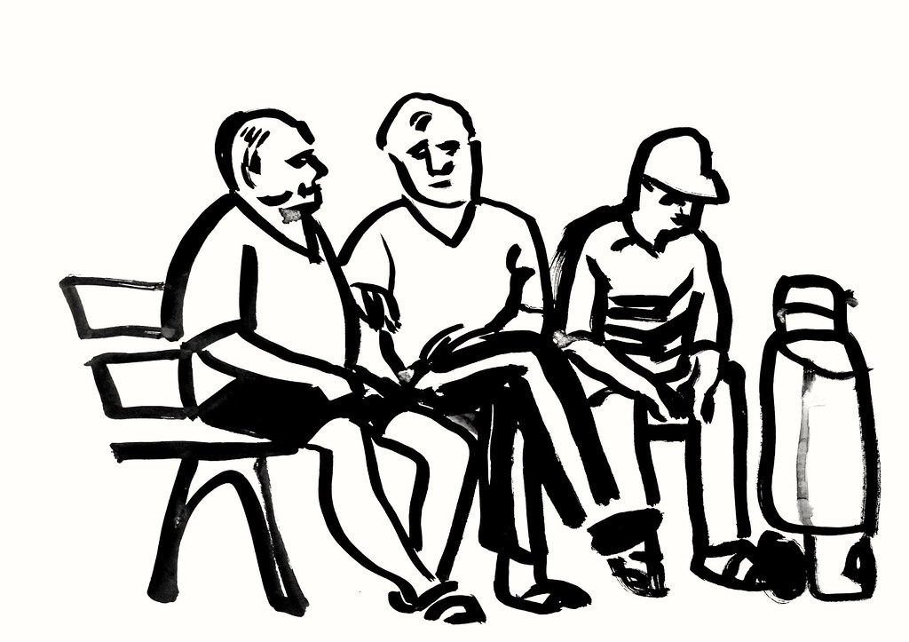 1024x723 Three Men On A Bench, Cm, Ink On Paper