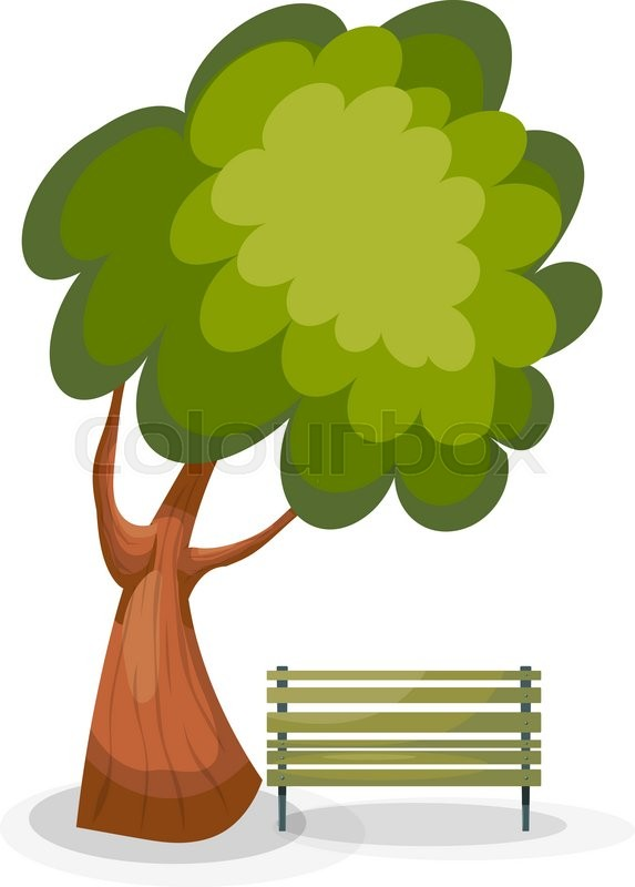573x800 Tree And Bench On A White Background Stock Vector Colourbox