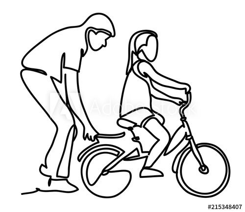 500x434 Caring Dad Teaching Daughter To Ride Bike For The First Time