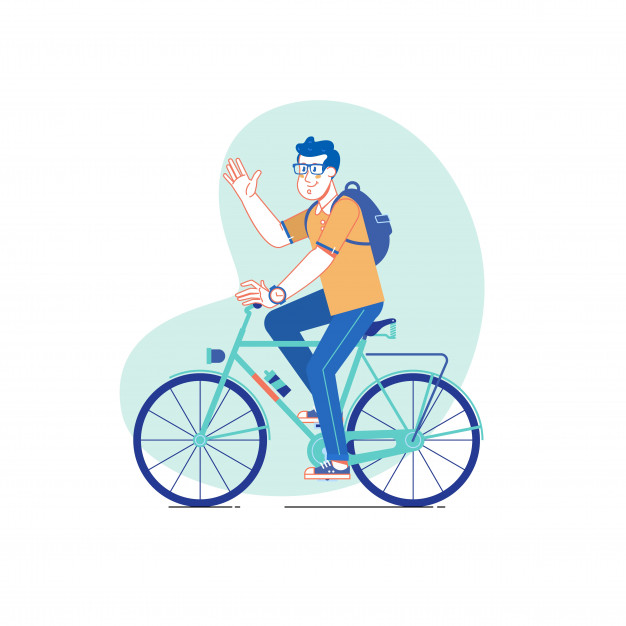 626x626 City Style Man Riding On A Bicycle Vector Line Drawing
