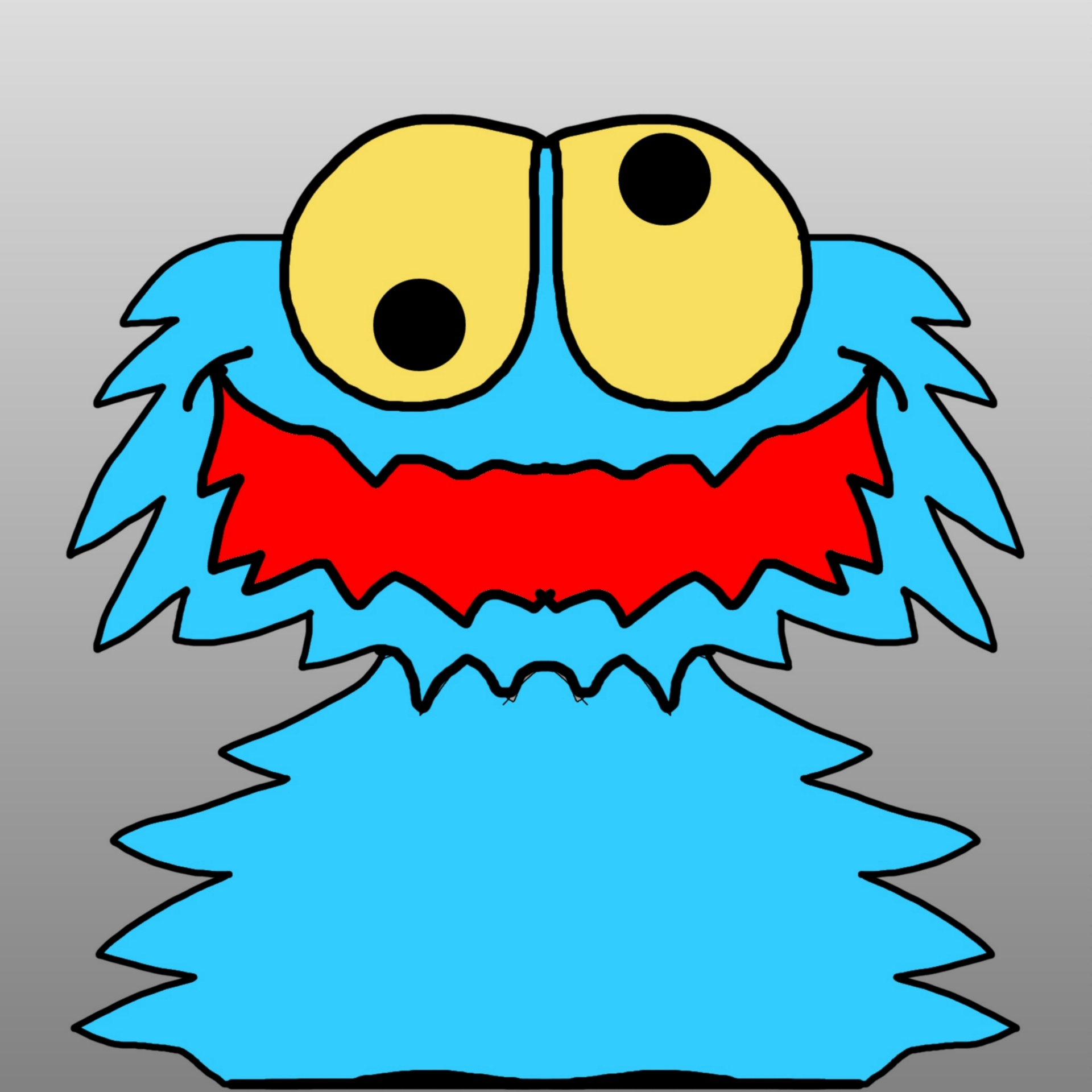 1920x1920 Drawing, Cookie, Monster, Grey, Background
