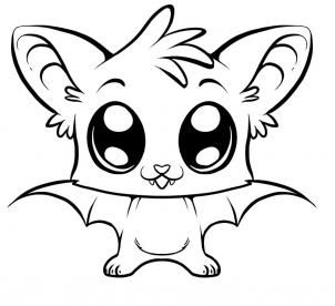 302x276 Big Animals Eyes Coloring Pags How To Draw A Cute Bat, Step