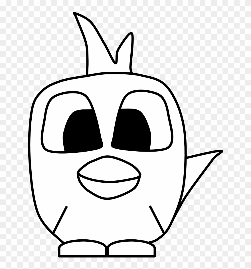 880x944 Chicken, Big Eyes, Black And White, Cartoon Animal