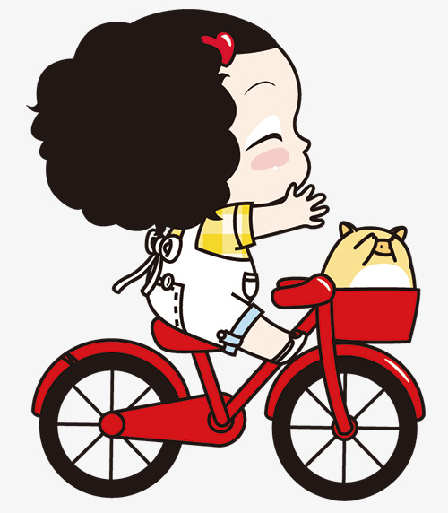 500x572 Cartoon Little Girl Riding A Bike, Cartoon